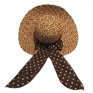🌺 Straw Brown Polka Dot Ribbon Wide Brim Sun Hat